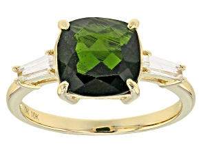 Green Chrome Diopside 10k Yellow Gold Ring 3.07ctw