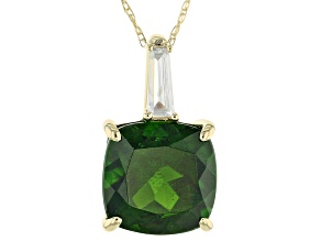Green Chrome Diopside 10k Yellow Gold Pendant With Chain 3.22ctw