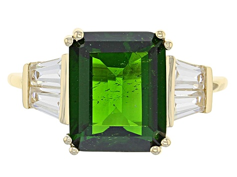 Green Chrome Diopside 10k Yellow Gold Ring 4.69ctw