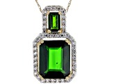 Green Russian Chrome Diopside 10k Yellow Gold Pendant With Chain 3.73ctw