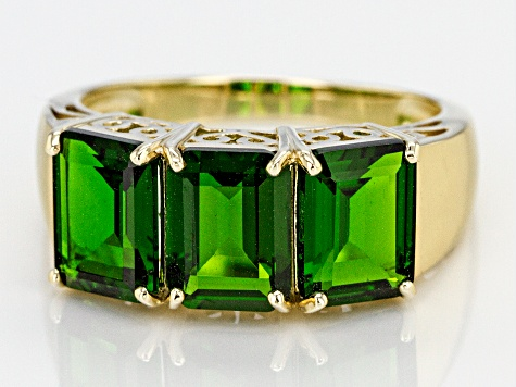 Green Chrome Diopside 10k Yellow Gold Ring 4.10ctw.