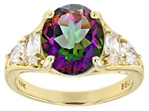 Mystic Topaz® 10k yellow gold ring 4.35ctw