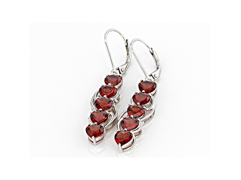 Red Garnet Rhodium Over Sterling Silver Earrings 4.93ctw