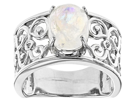 Oval rainbow moonstone rhodium over sterling silver solitaire ring 2.55ct