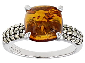 Square Cushion Amber and Round Marcasite Rhodium Over Sterling Silver Ring 2.37ctw