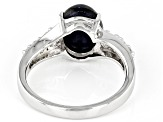Diffused Star Sapphire With White Zircon Rhodium Over Sterling Silver Ring 4.81ctw