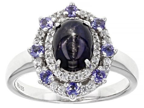 Blue Star Sapphire Rhodium Over Sterling Silver Ring 2.57ctw