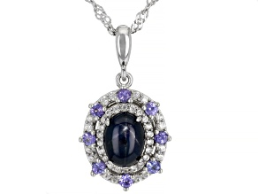 Blue Star Sapphire Rhodium Over Silver Pendant Chain 2.51ctw