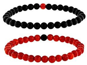 Black Onyx Set of 2 Stretch Bracelets