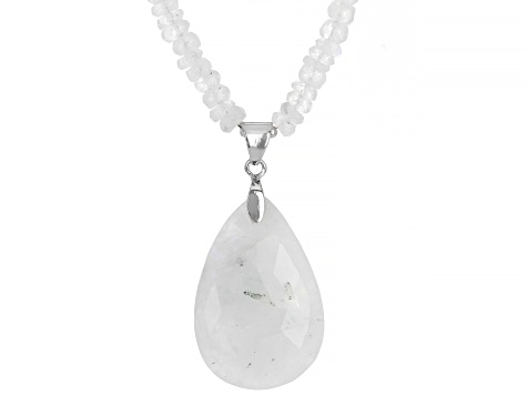 White Rainbow Moonstone Rhodium Over Sterling Silver Pendant With A Beaded Necklace