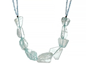 Blue Aquamine Rhodium Over Sterling Silver Necklace