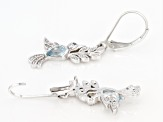 Blue Topaz Rhodium Over Sterling Silver Earrings 1.09ctw