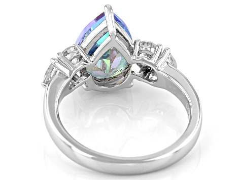 Blue Petalite Rhodium Over Sterling Silver Ring 2.72ctw