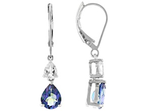 Blue Petalite Rhodium Over Sterling Silver Dangle Earrings 1.97ctw