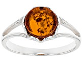 Orange Amber Sterling Silver Solitaire Ring