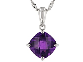Purple Amethyst Rhodium Over Silver Pendant With Chain 3.66ct