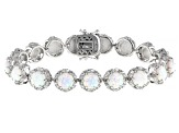 White Lab Created Opal Rhodium Over Sterling Silver Bracelet 14.10ctw