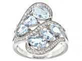 Aquamarine with White Zircon Rhodium Over Sterling Silver Ring. 2.44ctw