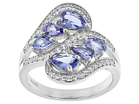 Blue tanzanite rhodium over sterling silver ring 1.84ctw