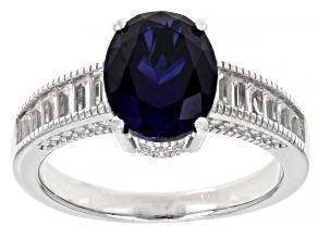 Blue Lab Created Sapphire Rhodium Over Silver Ring 3.32ctw