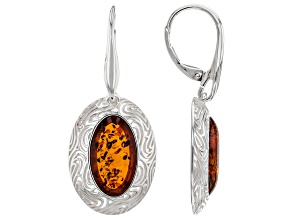 Orange Amber Sterling Silver Solitaire Earrings