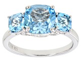 Blue Topaz Rhodium Over Sterling Silver Ring 3.66ctw