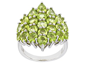 Green Peridot Rhodium Over Sterling Silver Ring 6.11ctw