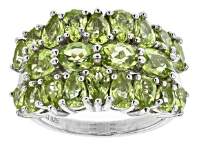 Green Peridot Rhodium Over Sterling Silver Cluster Ring 5.22ctw