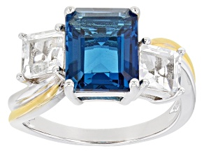 London Blue Topaz Rhodium Over Sterling Silver Ring 4.91ctw