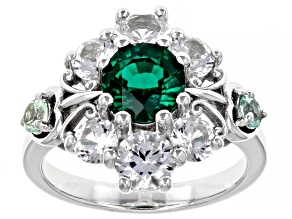 Lab Created Emerald Rhodium Over Silver Ring 3.78ctw