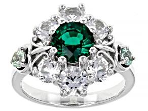 Lab Created Emerald Rhodium Over Silver Ring 3.96ctw