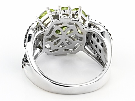Green Peridot Rhodium Over Sterling Silver Ring 3.35ctw