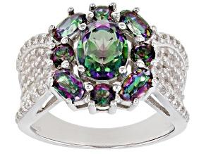 Multi-Color Quartz Rhodium Over Sterling Silver Ring  3.21ctw