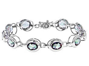 Oval Multi-Color Quartz Rhodium Over Sterling Silver Tennis Bracelet 16.44ctw
