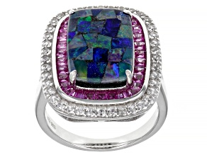 Multicolor Mosaic Opal Triplet Rhodium Over Silver Ring 1.76ctw