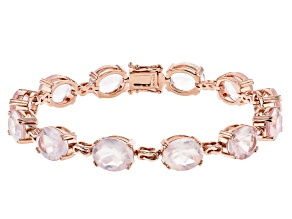 Rose Quartz 18k Rose Gold Over Sterling Silver Bracelet 25.42ctw