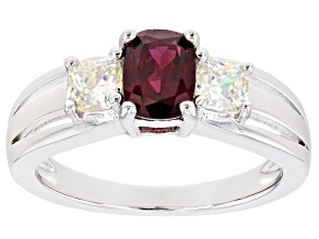 Cushion Raspberry Color Rhodolite With Strontium Titanate Rhodium Over Silver Ring