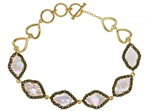 White Mother Of Pearl 18k Yellow Gold Over Sterling Silver Toggle Bracelet