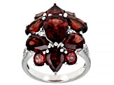 Red Garnet Rhodium Over Sterling Silver Cluster Ring 7.72ctw