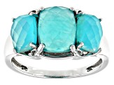 Blue Amazonite Rhodium Over Sterling Silver 3-Stone Ring