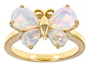 Multicolor Ethiopian Opal 18k Yellow Gold Over Sterling Silver Butterfly Ring 1.66ctw