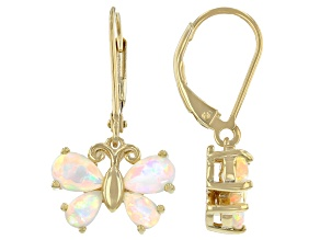 Multicolor Ethiopian Opal 18k Yellow Gold Over  Silver Butterfly Earrings
