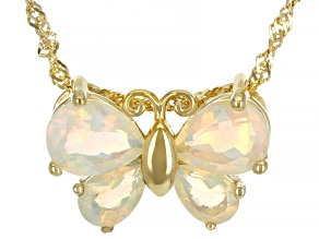 Multi-Color Opal 18K Gold Over Silver Butterfly Pendant with Chain