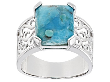 Picture of Blue Turquoise Rhodium Over Sterling Silver Ring