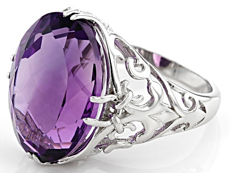 Oval Brazilian Amethyst Rhodium Over Sterling Silver Solitaire Ring. 10.63ctw