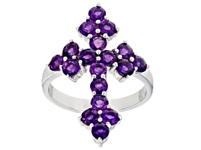 Purple Amethyst Rhodium Over Sterling Silver Cross Ring 1.53ctw