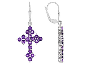 Purple Amethyst Rhodium Over Sterling Silver Cross Dangle Earrings 1.83ctw