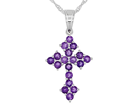 Purple Amethyst Rhodium Over Sterling Silver Cross Pendant With Chain 1.53ctw