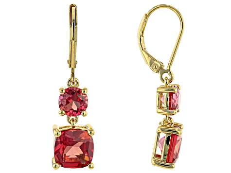 Orange Lab Created Padparadscha Sapphire 18K Yellow Gold Over Silver Earrings 6.26ctw