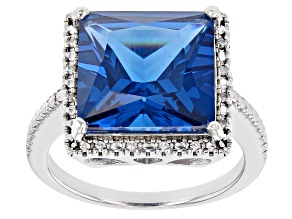 Blue Lab Created Spinel Rhodium Over Sterling Silver Ring 6.07ctw
